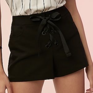 Express Mid Rise Lace Up Shorts